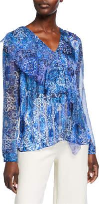 Elie Tahari Zona Printed Ruffle Silk Blouse