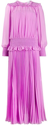 RED Valentino Ruched Pleated Midi Dress