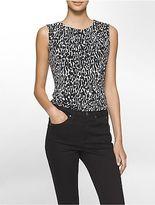 Calvin Klein Womens Leopard Pleat Neck Sleeveless Blouse