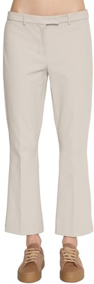 Flared Stretch Cotton Twill Pants