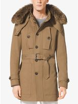 Michael Kors Fur-Trimmed Hooded Cotton Trench Anorak