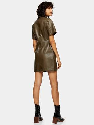 Topshop PU Shirt Dress - Khaki