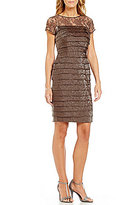 London Times Illusion Lace Layered Shimmer Dress