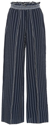 Jonathan Simkhai Striped slit-front wide-leg pants