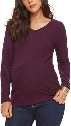 Stowaway Collection Maternity Diagonal Rib Wool-Blend Sweater