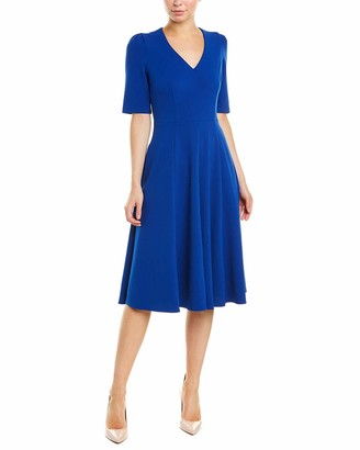 Donna Morgan Women's Stretch Crepe Elbow Sleeve V-Neck Fit and Flare Midi Dress