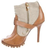 Tory Burch Leather Peep-Toe Ankle Boots