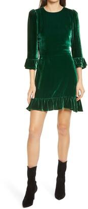 Reformation Mountain Ruffle Velvet Dress