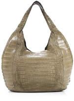 Nancy Gonzalez Taupe Crocodile Braided Strap Hobo Handbag