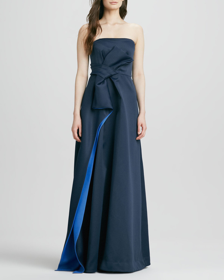 Halston Strapless Bow-Waist Gown