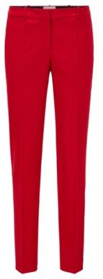 HUGO BOSS Regular Fit Cropped Pants In Traceable Stretch Virgin Wool - Red