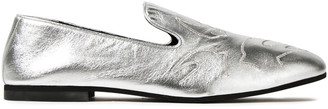 McQ Unity Embroidered Metallic Leather Loafers