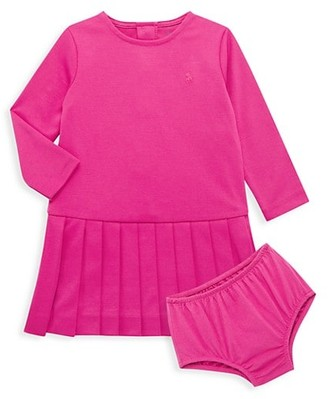 Ralph Lauren Baby Girl's 2-Piece Ponte Roma Pleated Dress & Bloomers Set