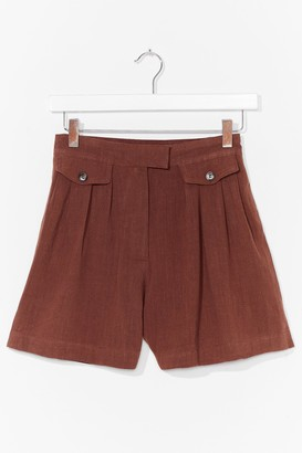 Nasty Gal Womens Off Duty Linen Utility Shorts - Rust