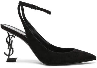 Saint Laurent Suede Opyum Monogramme Ankle Strap Pumps in Black & Black | FWRD