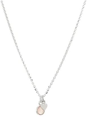 Dee Berkley Mini Valentines Necklace with Mini Heart Charm Rose Quartz in Sterling Silver (Silver) Necklace
