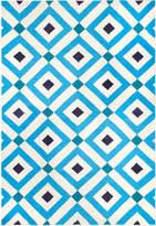 Jonathan Adler Navy/Light Blue Crawford Reversible Peruvian Llama Flat Weave Rug