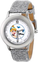 Disney Kids' W000391 Tween Glitz Cinderella Stainless Steel Silver Glitter Leather Strap Watch