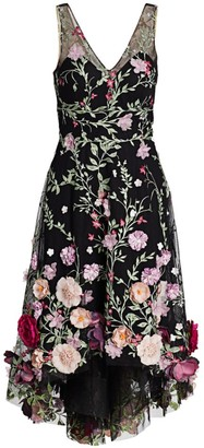 Marchesa Embroidered Flower Dress