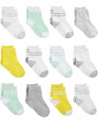 Simple Joys by Carter's 12-pack Socks Yellow/Grey/Mint 12-24 Months