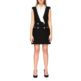 Balmain Dress Tuxedo Style Dress With Satin Collar