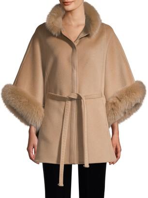 Wolfie Fur Made For Generation Fox Fur-Trim Wool & Cashmere Cape