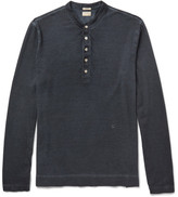 Massimo Alba Hawai Garment-dyed Cotton And Cashmere-blend Henley T-shirt - Blue