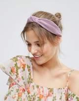 Asos Lilac Plisse Knot Headband