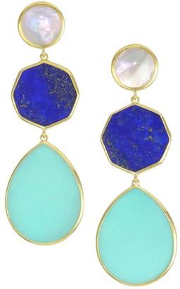 Ippolita Polished Rock Candy 18K Yellow Gold & Multi-Stone Crazy 8's Triple-Drop Earrings