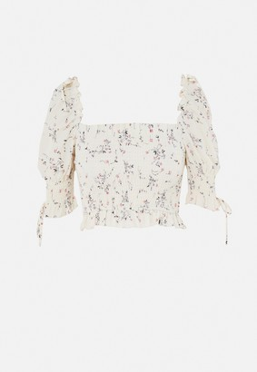 Missguided Cream Ditsy Floral Print Puff Sleeve Crop Top