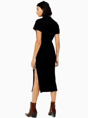 Topshop Chuck On Cut And Sew Midi Dress - Black
