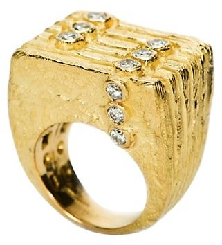 Katy Briscoe Lines & Dots 18K Yellow Gold & Diamonds Medium Ring
