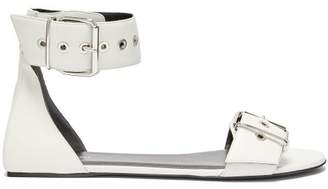 Balenciaga Belt Buckle Flat Leather Sandals - Womens - White