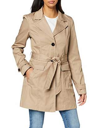 Vero Moda Women's Vmeva Abby 3/4 Trenchcoat Noos Coat, Brown Silver Mink, 12 (Size: Medium)