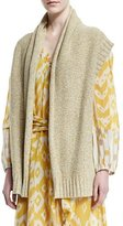 Foundrae Cashmere-Blend Open-Front Vest, Yellow Marl