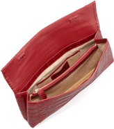 Nancy Gonzalez Gotham Crocodile Flap Clutch Bag, Red