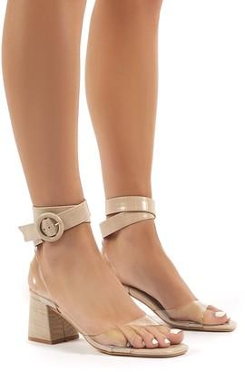 Public Desire Uk Kimora Croc Buckle Detail Perspex Mid Block Heels