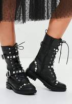 Missguided Black Calf Height Pearl Embellished Military Boots