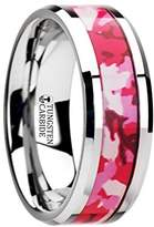 Thorsten Rings TANGO Tungsten Wedding Ring with Pink and White Camouflage Inlay - 8mm