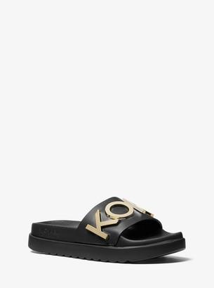 MICHAEL Michael Kors Cortlandt Embellished Leather Slide Sandal