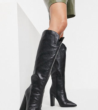 Public Desire Wide Fit Slow knee-high boots in black snake