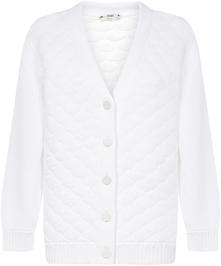 V Neck Quilted Cardigan