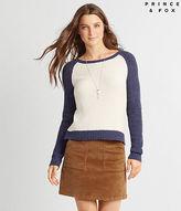 Aeropostale Womens Prince & Fox Baseball Popover Sweater Ivory