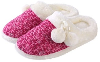 Aerusi Women's Fluffy, Cozy Pom-Pom Soft Plush Slippers with No-Slip Rubber Sole For Indoor, Outdoor, Spa Use (Fuschia)