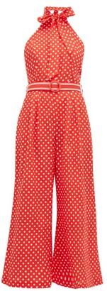 Zimmermann Zinnia Polka-dot Linen-blend Jumpsuit - Red Print