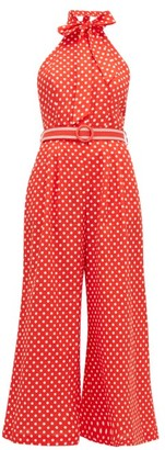 Zimmermann Zinnia Polka-dot Linen-blend Jumpsuit - Womens - Red Print