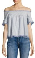 Love Sam Hand Smocking Off-the-Shoulder Top