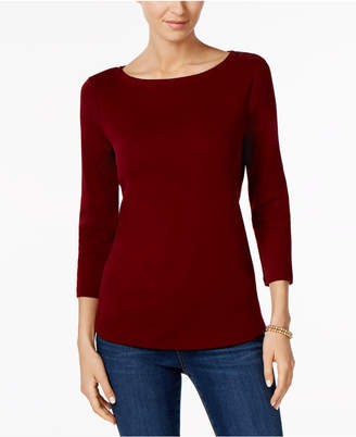Charter Club Petite Pima Cotton Button-Shoulder Top