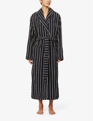 Tekla Classic striped organic-cotton towelling robe