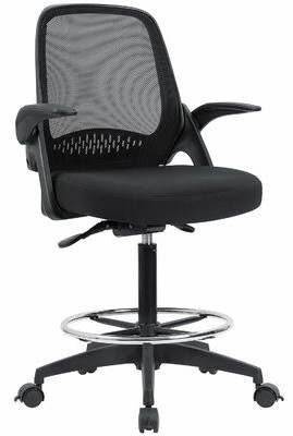 Symple Stuff Hann Mesh Drafting Chair Upholstery Color: Black
